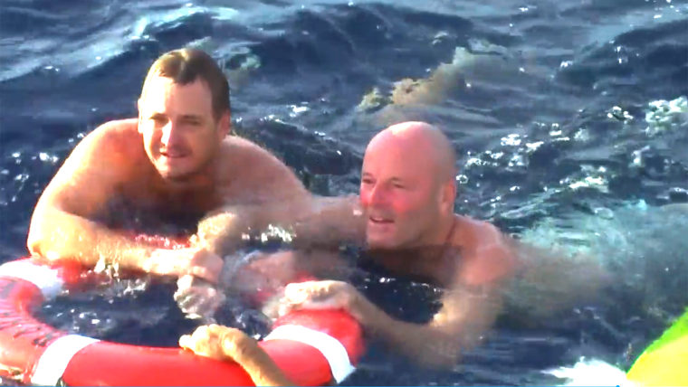 Man survives being lost at sea.