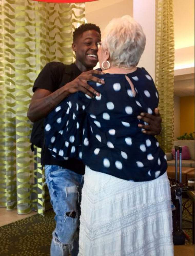 Spencer Sleyon flew to Florida to meet his Words With Friend buddy, an 81-year-old woman.