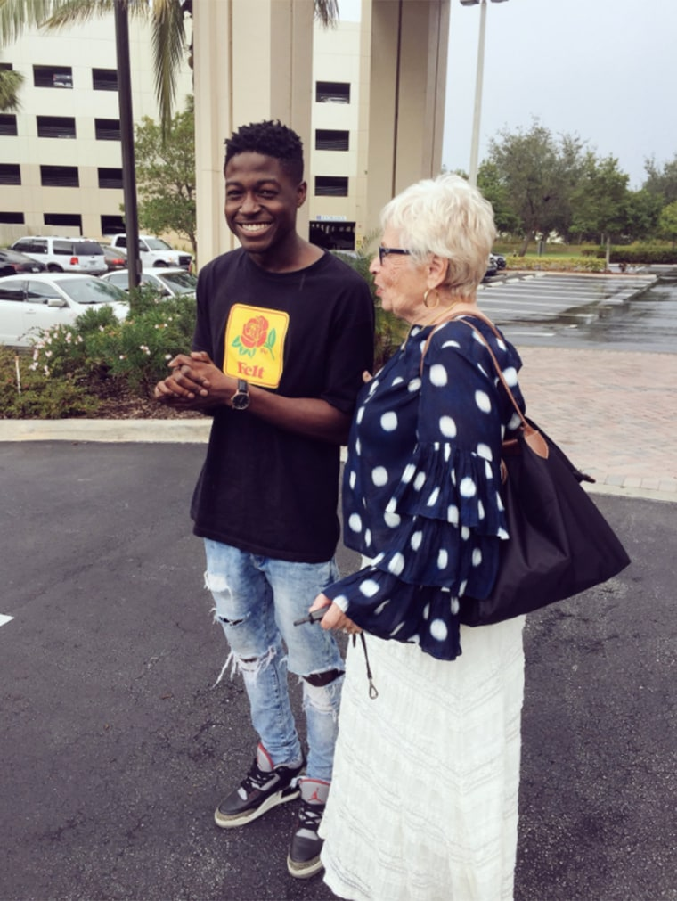 Spencer Sleyon, 22, flew to Florida to meet his Words With Friend buddy, an 81-year-old woman.