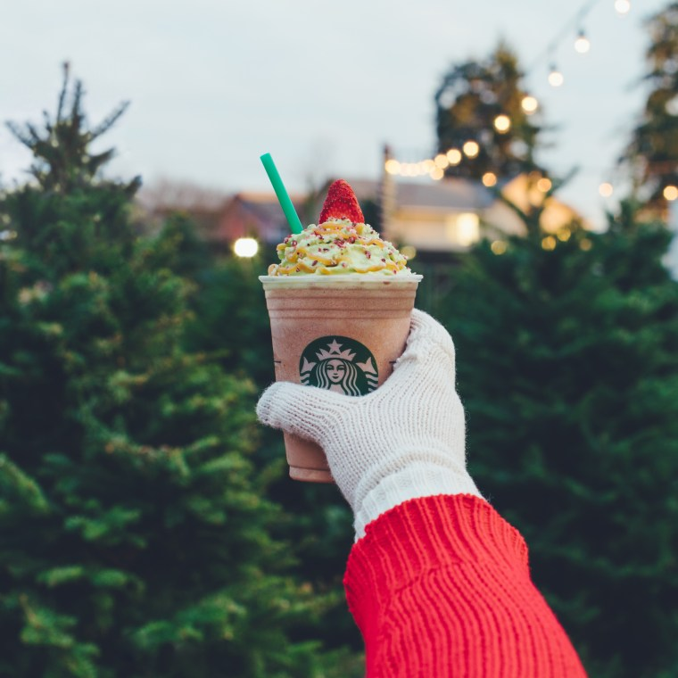 the christmas tree frappuccino starts with a peppermint mocha blended crme base thats topped with a fluffy green tree made from matcha whipped cream - Peppermint Christmas Tree