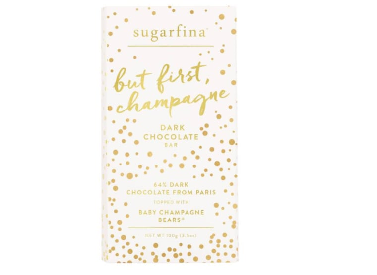Dark chocolate bar with champagne
