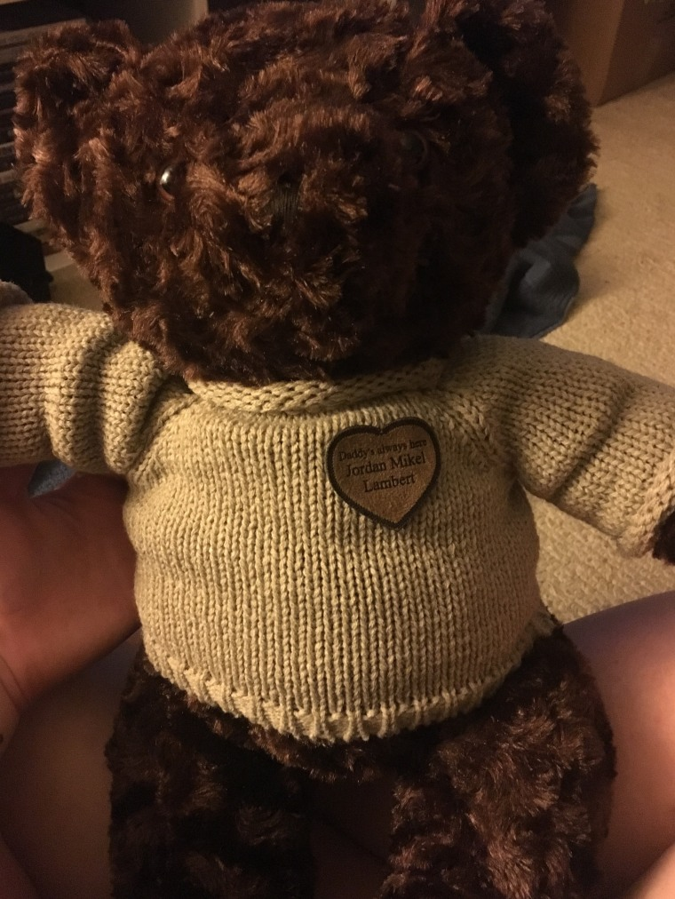 """Nathan's memorial """"Daddy Bear,"""" given to him after his father's death."""