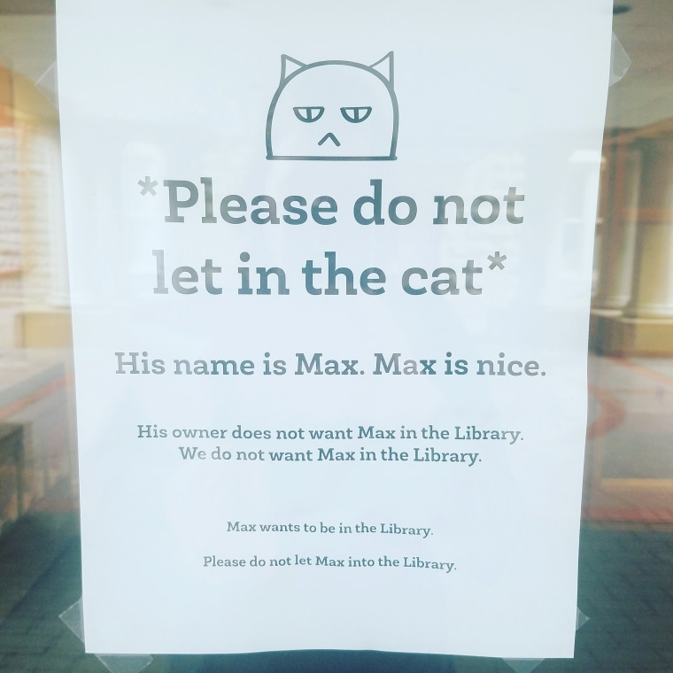 Max the cat banned from library