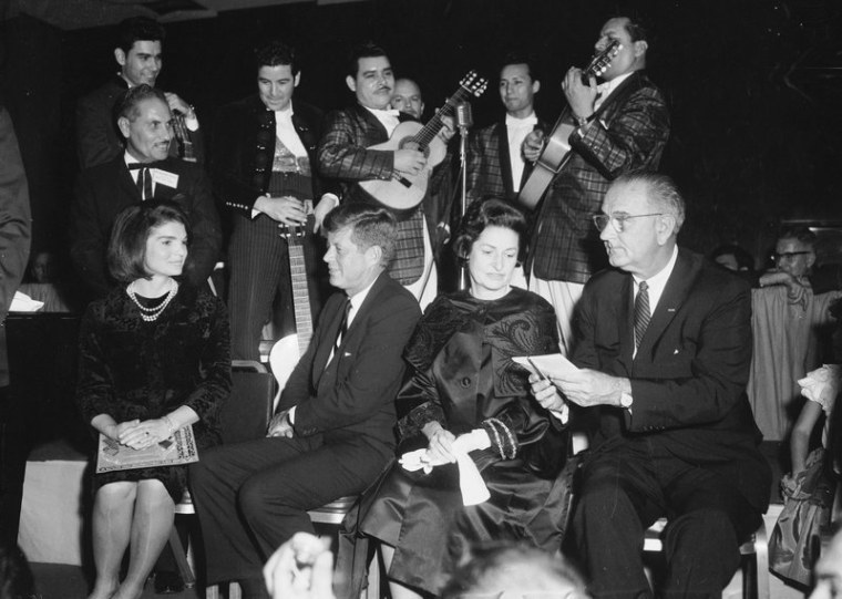 In this Nov. 21, 1963, file photo first lady Jackie Kennedy, President John F. Kennedy, Lady Bird and Vice President Lyndon Johnson attend a LULAC dinner in Houston.