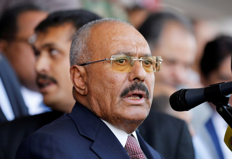 Image: FILE PHOTO: Yemen's former President Ali Abdullah Saleh addresses rally held to mark the 35th anniversary of the establishment of his General People's Congress party in Sanaa
