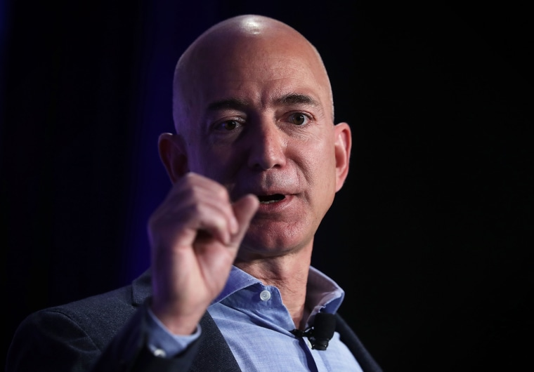 "Image: Jeff Bezos speaks during an event called ""Transformers: Pushing the Boundaries of Knowledge"""