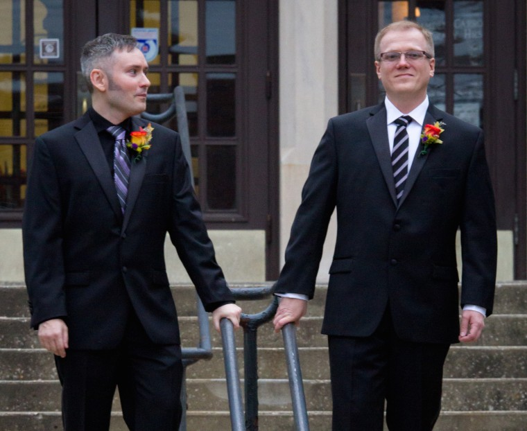 (L-R) David Moore and David Ermold on their wedding day at Morehead State University.