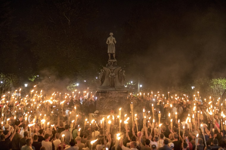 Image: Torch-Bearing White Nationalists Rally Around a Statue of Thomas Jefferson