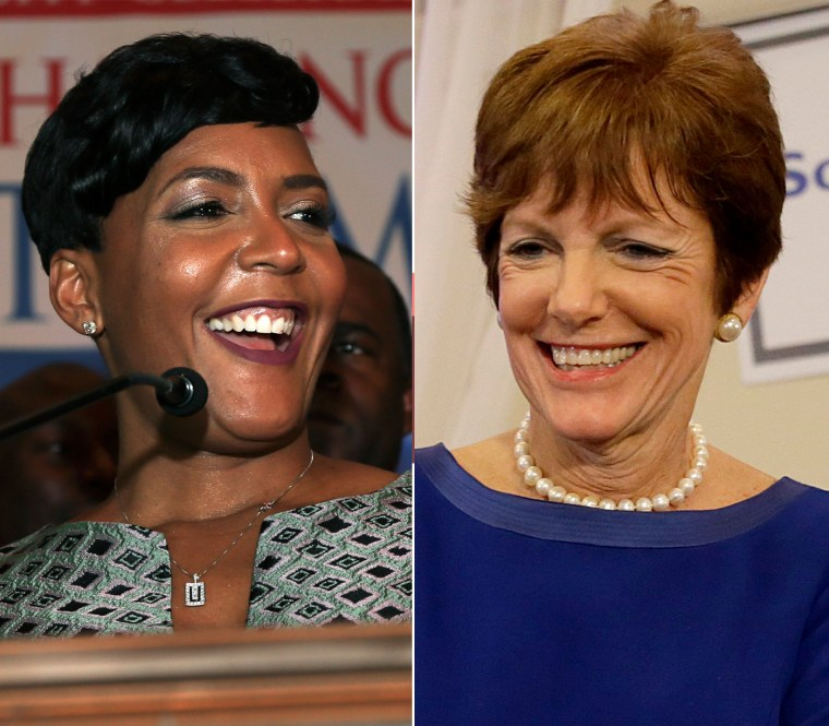 Keisha Lance Bottoms, left, and Mary Norwood