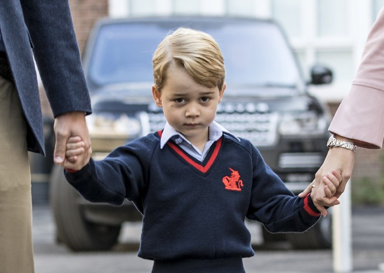 Image: Prince George arrives for his first day of school in London in September.