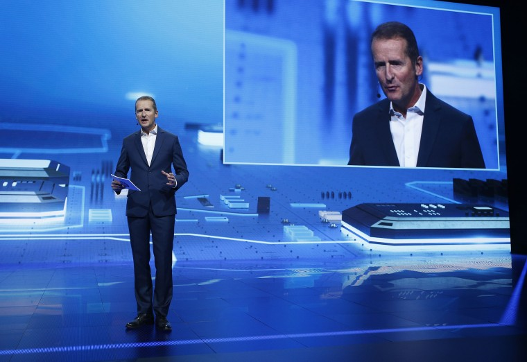 Image: Herbert Diess, chairman of the board of Volkswagen Brand, speaks during a keynote address at CES