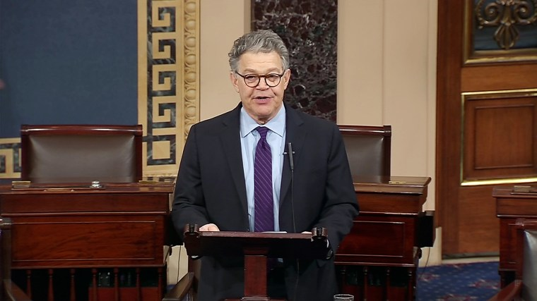 Imagae: Al Franken speaks on the senate floor on Dec. 7, 2017.