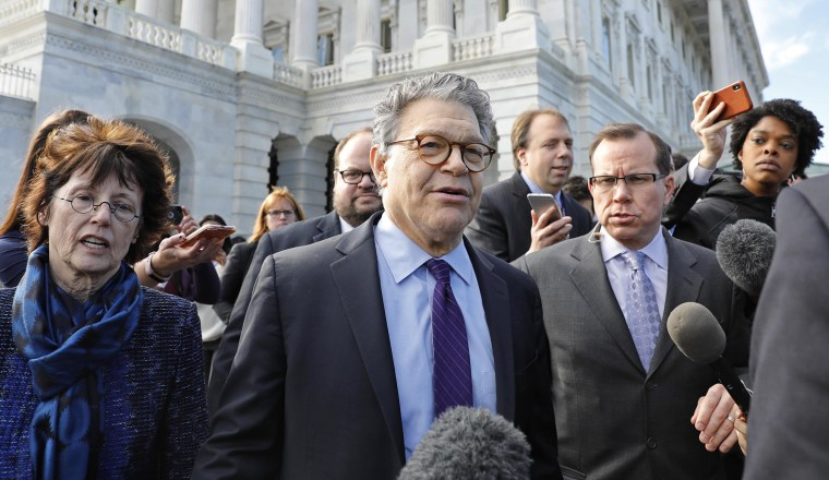 Image: U.S. Senator Franken departs the U.S. Capitol after announcing his resignation in Washington