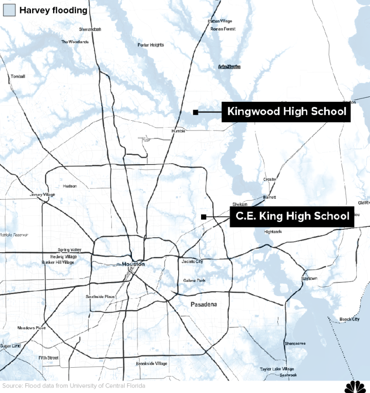 Graphic: Map locating Kingwood High School and C.E. King High School