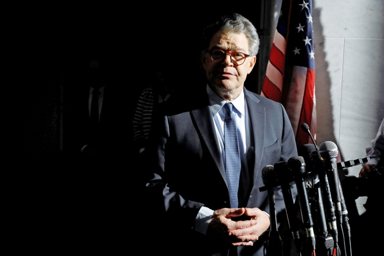 Image: Senator Franken addresses the media outside his office on Capitol Hill in Washington