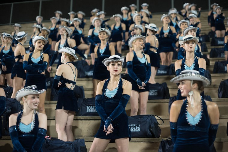 Image: Kingwood's drill team watch the game