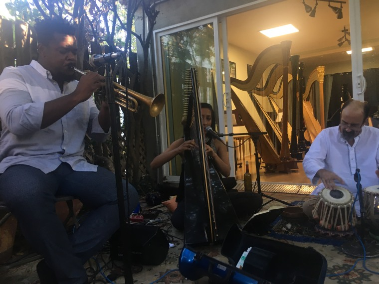 Sheela Bringi performs alongside Clinton Patterson on the trumpet and Leonice Shinneman on the tabla at a concert at Pacific Harps in Pasadena.