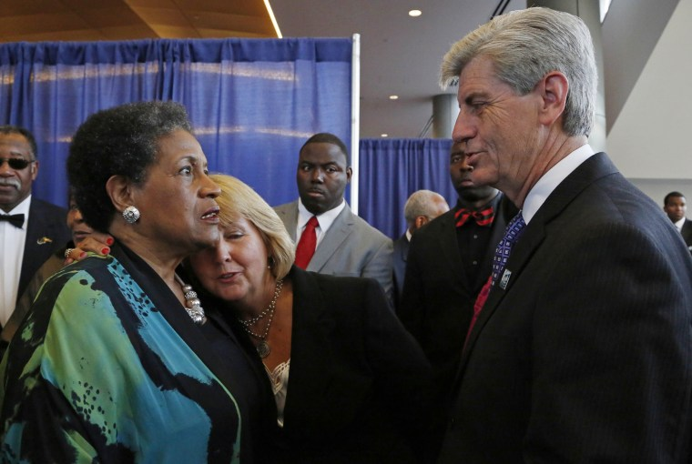 Image: Deborah Bryant, Phil Bryant, Myrlie Evers-Williams