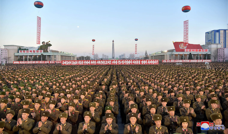 Image: North Korean soldiers and Pyongyang residents at rally