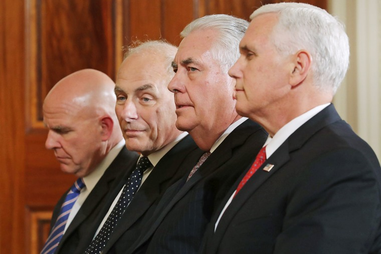 Two of the president's generals, Gen. H.R. McMaster and Ret. Gen. John Kelly join Secretary of State Rex Tillerson and Vice President Mike Pence for a joint news conference.