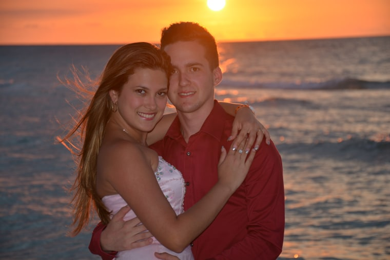 Helen Obediente and Gino Castellanos at a beach in the province of Matanzas, Cuba during their honeymoon in May 2016.