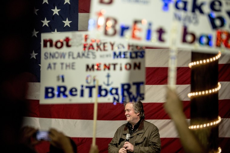 Image: Former White House Chief Strategist Steve Bannon speaks at the campaign rally for Roy Moore, a Republican running for the U.S. Senate in Alabama, in Fairhope, Alabama on Dec. 5, 2017.