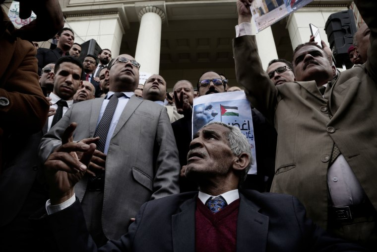 Image: Lawyers chant slogans during a protest after a recent U.S. decision to recognize Jerusalem
