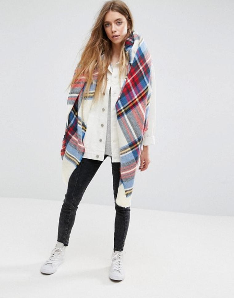 asos white plaid scarf