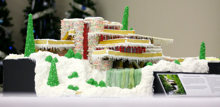 Frank Lloyd Wright's Fallingwater made out of gingerbread