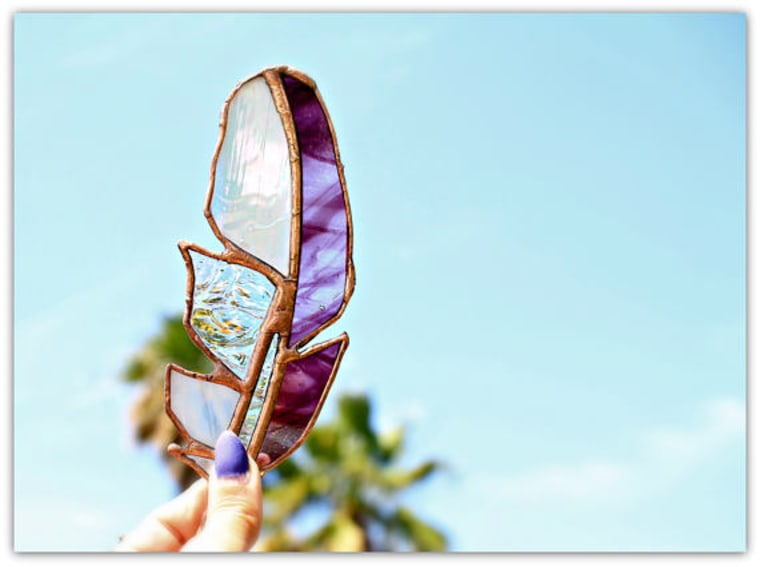 Stained glass feather in purple