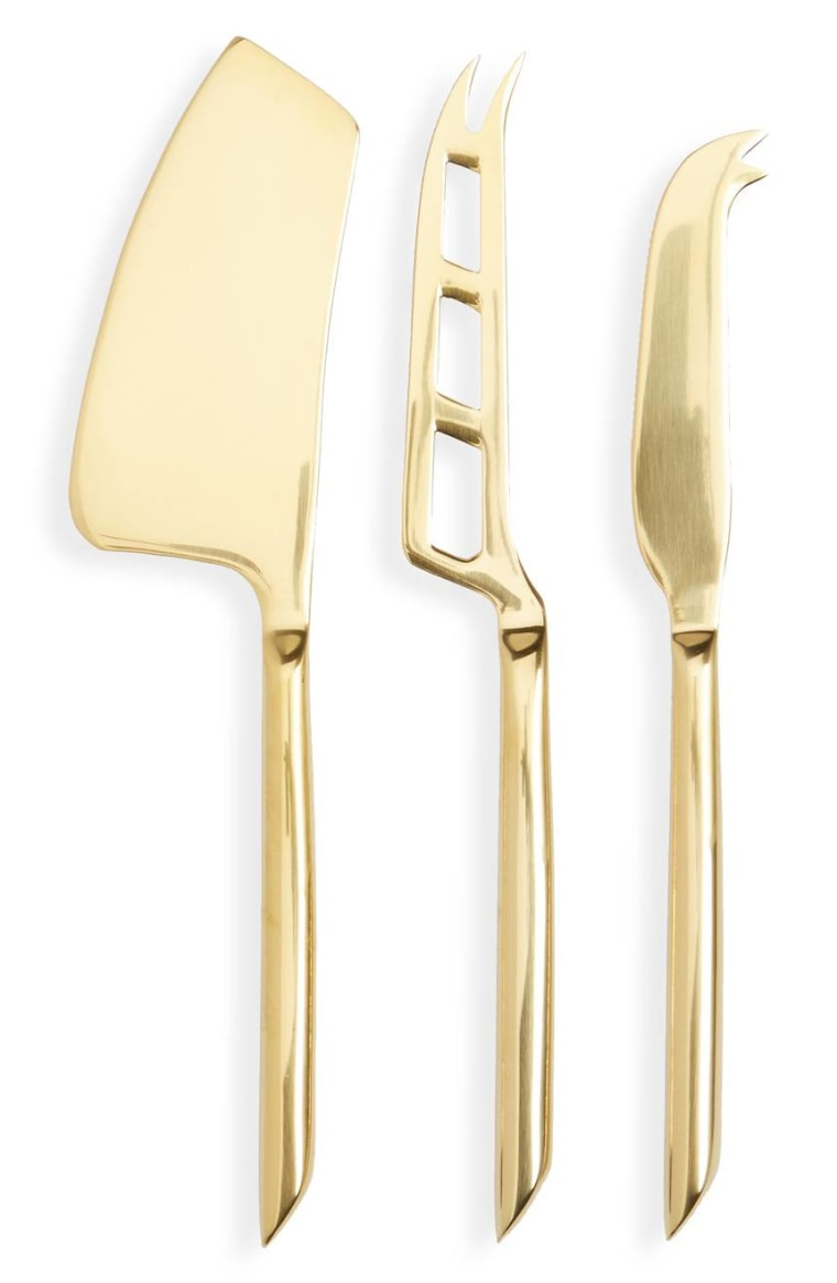 True Fabrications set of 3 gold cheese knives