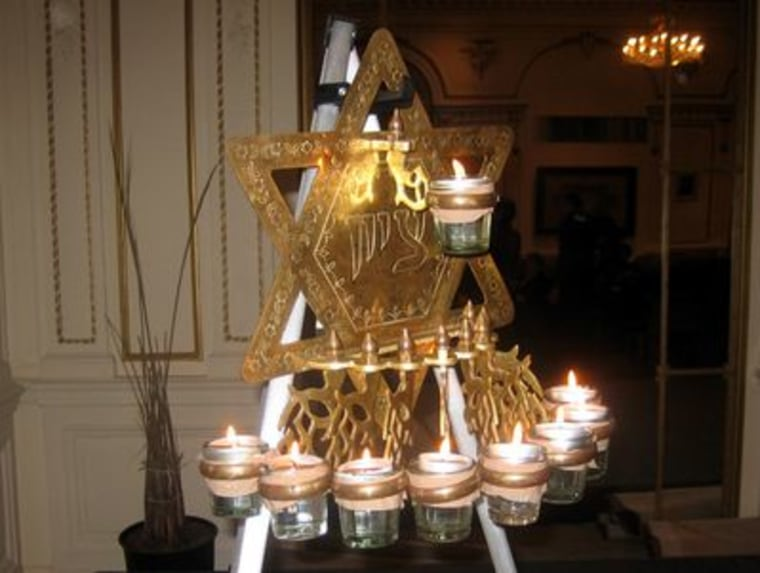 A closer look at a traditional Indian menorah.