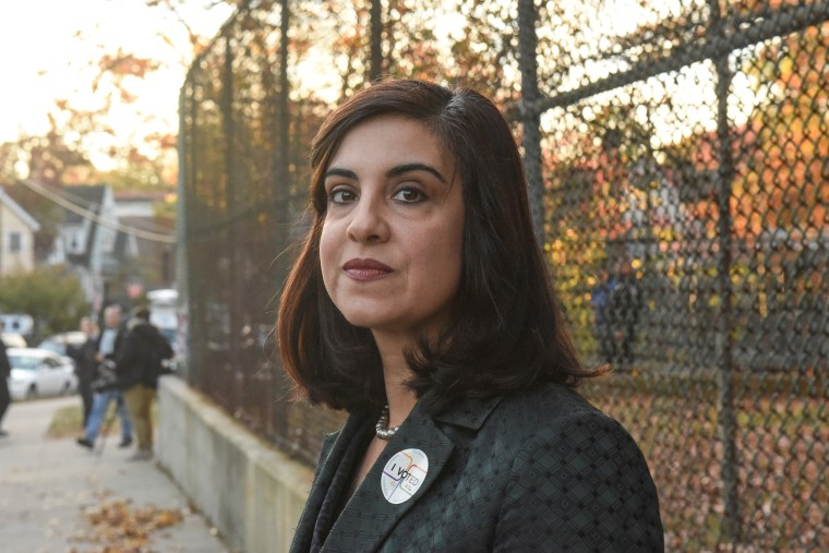 New York City mayoral candidate Malliotakis exits a polling station in the Staten Island borough of New York