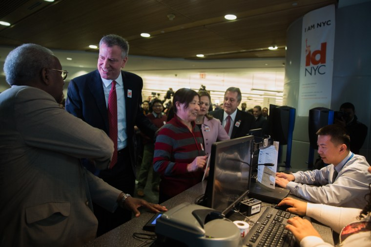 Mayor Bill de Blasio launches IDNYC at Queens Library on January 11, 2015.