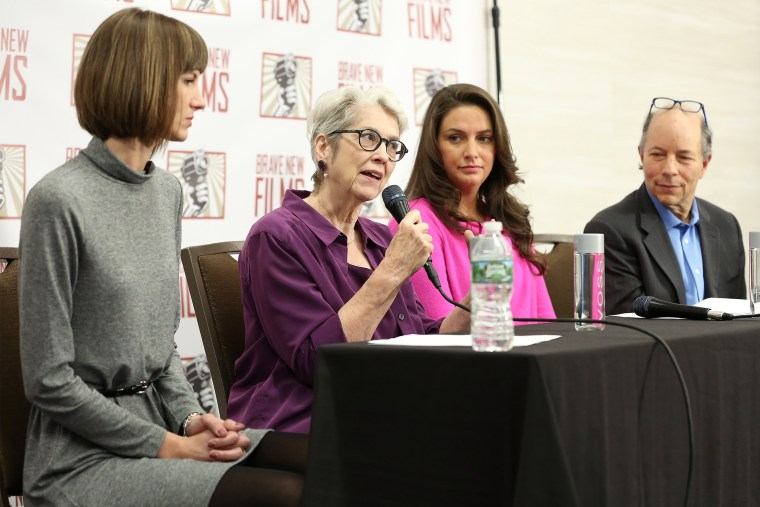 Rachel Crooks, Jessica Leeds, Samantha Holvey and founder and president of Brave New Films Robert Greenwald speak during the press conference held by women accusing Trump of sexual misconduct on Dec. 11, 2017 in New York City.
