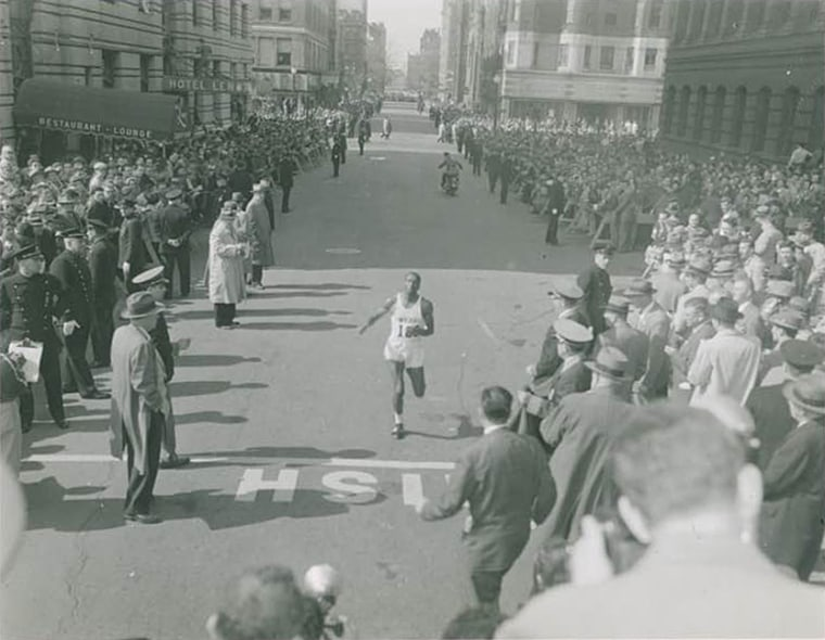 Image: Ted Corbitt at the 1956 Boston Marathon