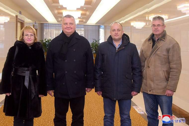 Image: Victor Kalganov, vice-director of the National Defense Command Center of the Russian Federation (center-left) in Pyongyang with three unidentified Russian defense ministry officials.