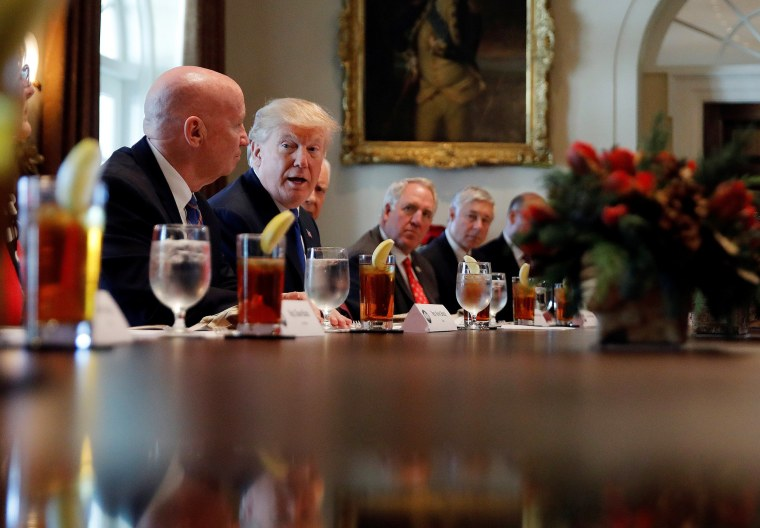 Image: President Donald Trump speaks during a lunch with bicameral tax conferees in the Cabinet Room of the White House in Washington