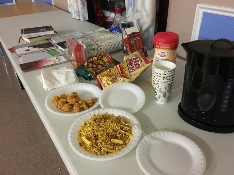 South Asian snacks at a meeting of the South Asian Alcoholics Anonymous Program in New Jersey.