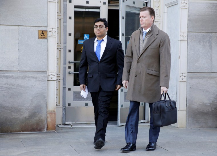 Image: Former Rutgers University student Paras Jha leaves the courthouse after his hearing in Trenton