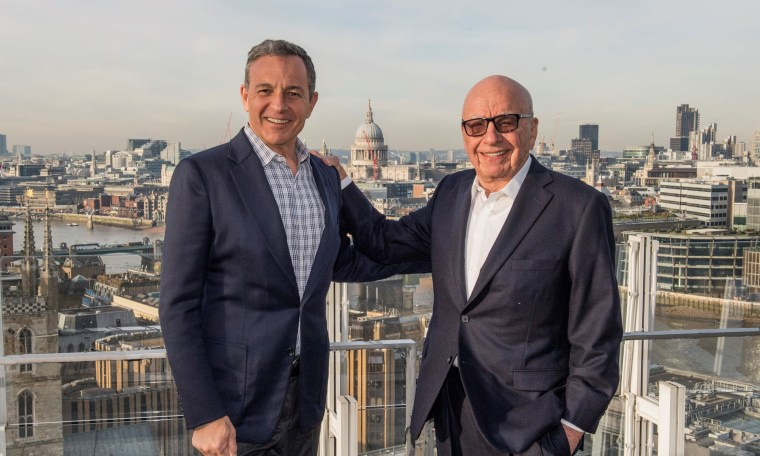 Image: Walt Disney chief executive Bob Iger (L) and Fox owner Rupert Murdoch in London.