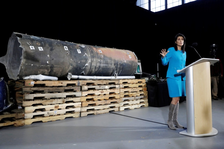 "Image: U.S. Ambassador to the United Nations Nikki Haley briefs the media in front of remains of Iranian ""Qiam"" ballistic missile in Washington"