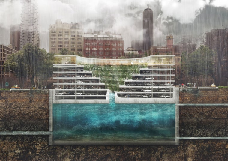 Image: As heavy rain falls, storm water fills the underground reservoir and the parking structure will rise