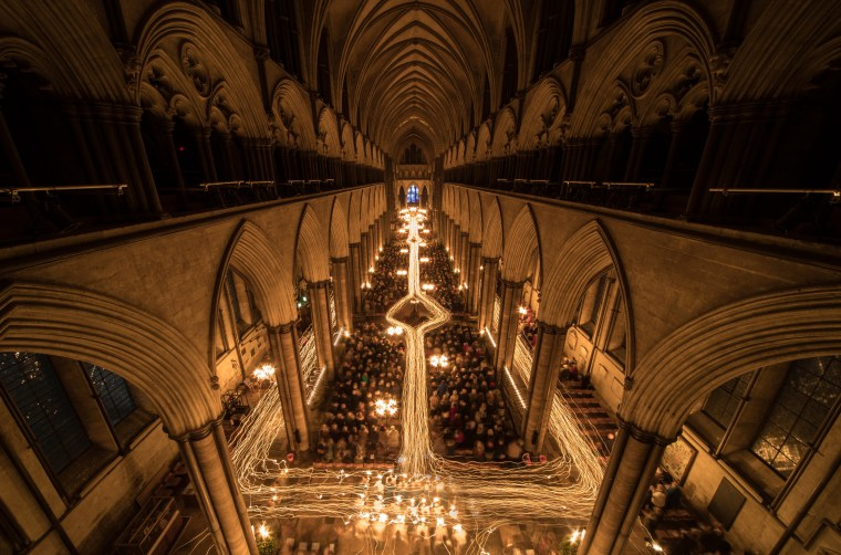 Image: The Darkness To Light Advent Procession Is marked At Salisbury Cathedral