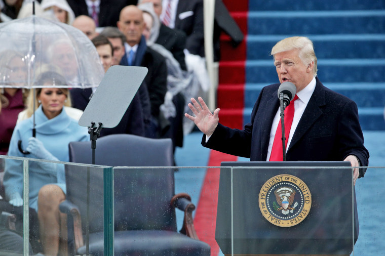 Image: President Donald Trump delivers his inaugural address