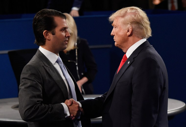 Image: Donald Trump Jr and DOnald Trump Speak