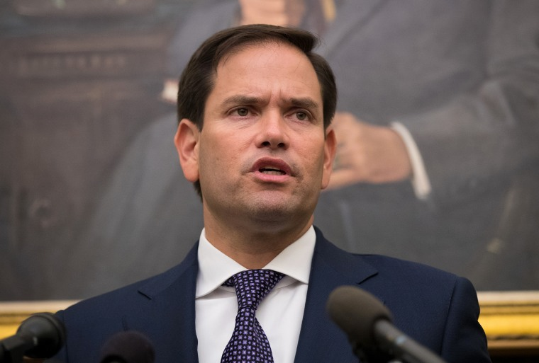 Image: Sen. Marco Rubio takes questions from reporters