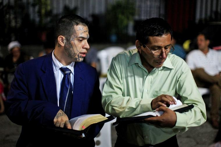 """Image: Julio Marroquin, (L), member of the \""""Huellas de Esperanza\"""""""
