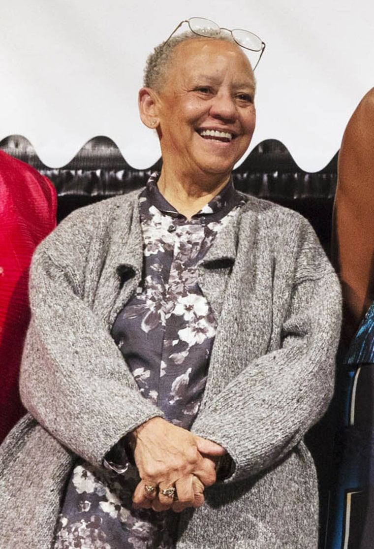 Image:Nikki Giovanni appears at the unveiling of the Maya Angelou Forever Stamp