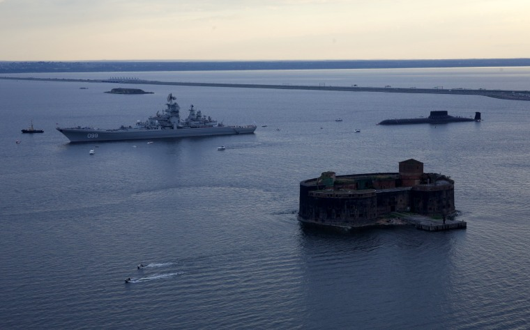 Image: Russian nuclear missile cruiser Pyotr Veliky (Peter the Great) and nuclear submarine Dmitry Donskoy moored on the eve of the the Navy Day parade in Kronshtadt, a seaport town in the suburb of St. Petersburg, Russia, July 28, 2017.